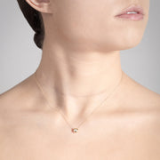 Annie James jewelry diamond and yellow gold necklace, butterfly charm, thyroid cancer awareness