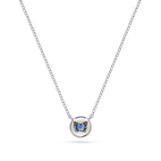 Annie James jewelry blue sapphire and white gold necklace, butterfly charm, thyroid cancer awareness