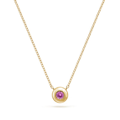 Annie James jewelry pink sapphire and yellow gold necklace, butterfly charm, thyroid cancer awareness