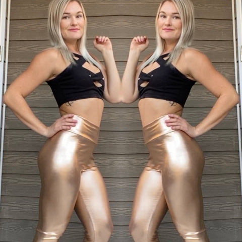 Metallic Faux Leather Leggings - Silver & Rose Gold -