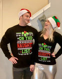 Matching Couples Ugly Christmas Sweaters - On the Naughty List
