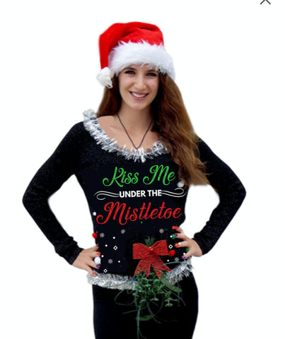 Kiss Me Under the Mistletoe Ugly Christmas Sweater -