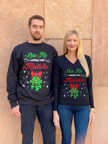Matching Couples Ugly Christmas Sweaters - Kiss Me Under the Mistletoe