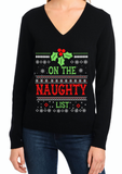 Naughty Ugly Christmas Sweater Womens - On the Naughty List - IN STOCK READY to SHIP