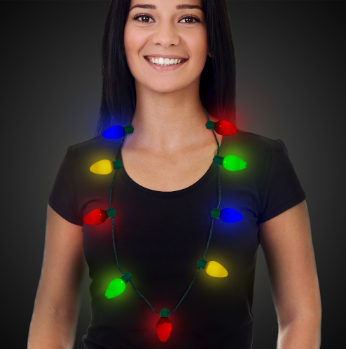 LED Christmas Bulb Light Up Necklace