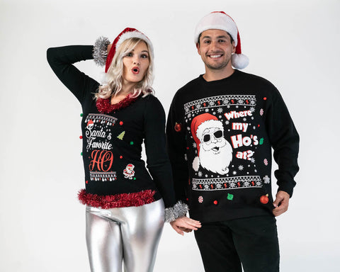 Matching Couples Ugly Christmas Sweaters 3D - Where my Ho's at? and Santa's Fav Ho - IN STOCK - ready to ship
