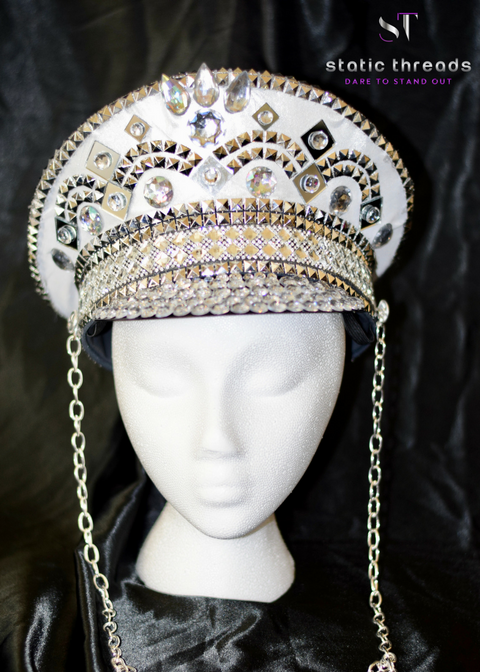 Festival Hat - White and Silver Captain Hat
