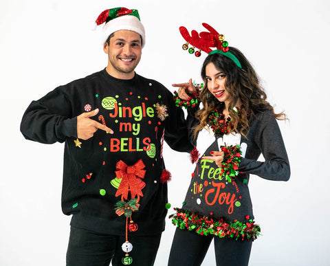 Couples Ugly Christmas Sweaters | Feel The Joy Sweater and Jingle My Bells