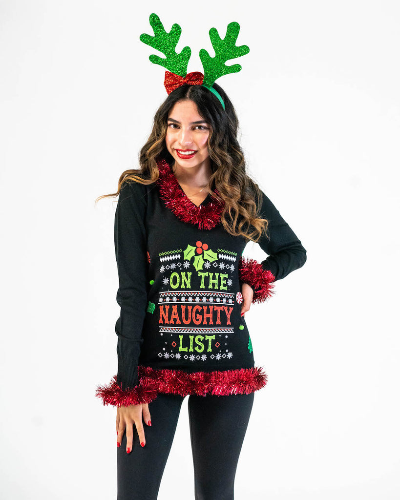 On the Naughty Ugly Christmas Sweater Womens 3D -  IN STOCK READY to SHIP