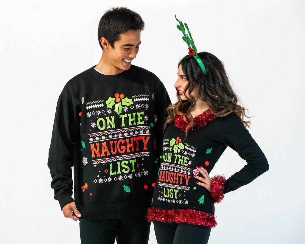 Matching Couples Ugly Christmas Sweaters - On the Naughty List 3D Couples Sweaters