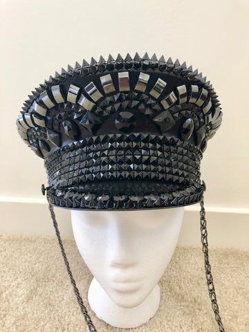 All Black Captain Festival Hat - Dominatrix Festival Hat