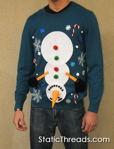 Upside Down Snowman Naughty Christmas Sweater with Dangling Bells