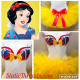 Sexy Snow White Costume - Snow White costume - sexy halloween costume - Disney Rave Outfit, Snow White Rave Bra, Rave Bra