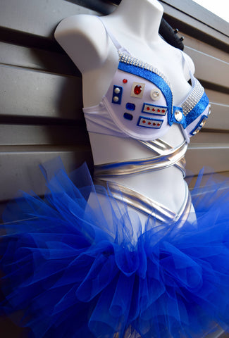 R2D2 Bra, Star Wars Costume - Rave Bra and Tutu -  R2D2 Sexy Costume - R2D2 Rave Bra, Star Wars Bra