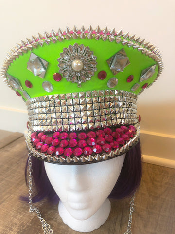 Festival Hat | Military Festival Hat, READY TO SHIP, Pink and Green Festival Hat, Burning Man Hat, Femme festival hat,