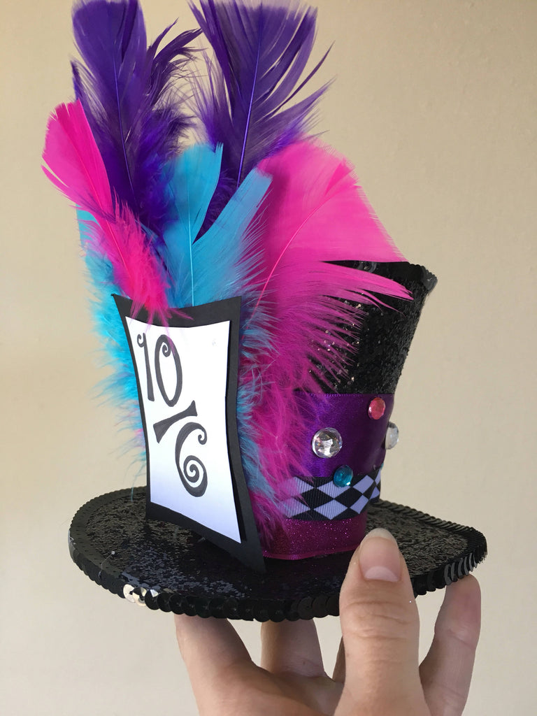 Mad Hatter Costume Hat - Mini Top Hat - Mad Hatter Costume, Mad Hatter Hat, GEt BEfore hAlloween