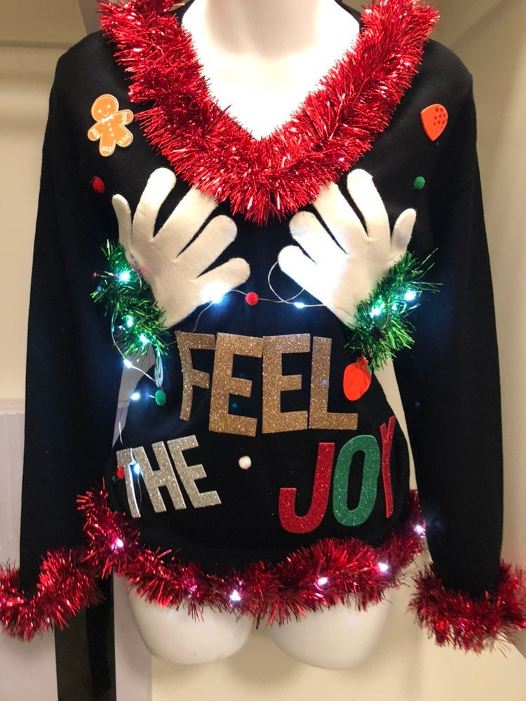 Feel the Joy Sweater, Womens Ugly Christmas Sweater, Ugly Christmas Sweater, Feel the Joy Christmas Sweater, Ugly Christmas Sweater