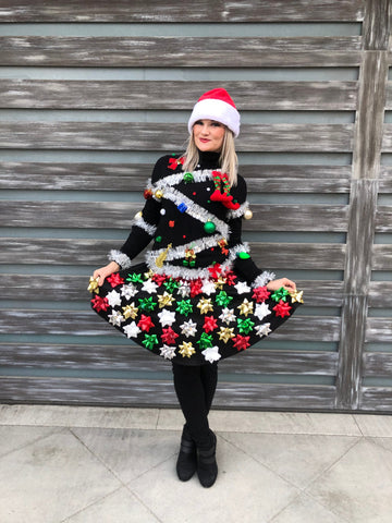Ugly Christmas Sweater women, Womens Ugly Christmas Sweater, Ugly Christmas Sweater & Bow Skirt
