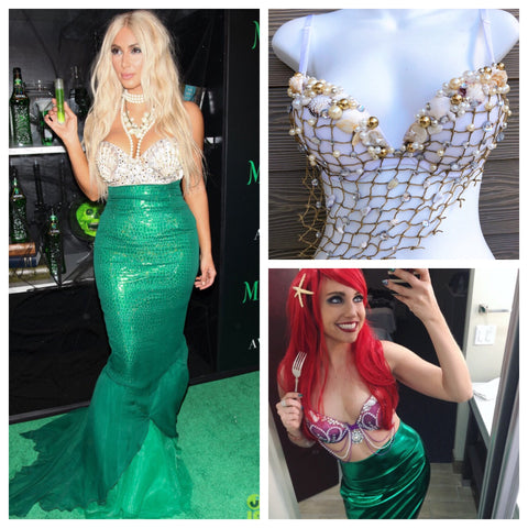 White Mermaid Bra -  Kim Kardashian Mermaid Costume Halloween 2019