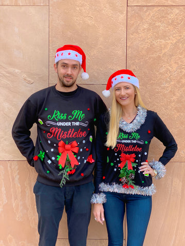 Matching Couples 3D Ugly Christmas Sweaters - Kiss Me Under the Mistletoe