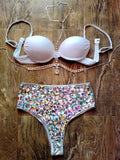 Rhinestone High Waist Bottoms and Pink top with body jewelry