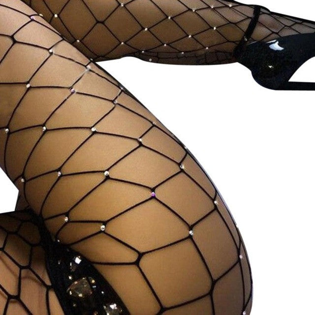 Women Rhinestone Fishnet Tights - 3 Colors