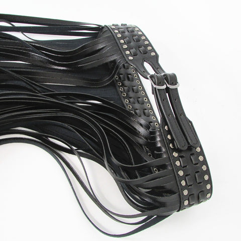 Black Leather Fringe Belt Long Tassels