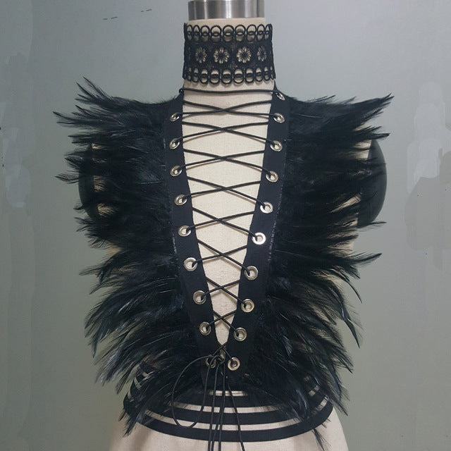 Vintage Gothic Style Feather Harness