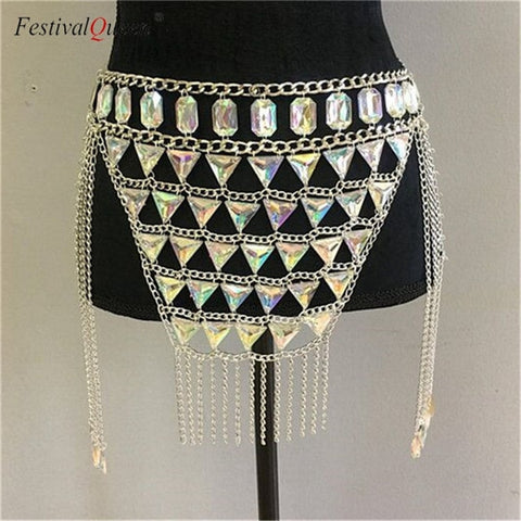 Festival Jewelry chain top and skirt -  2 pieces set