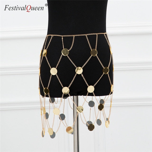 FestivalQueen exotic acrylic sequin women's metal chain skirt 2018 summer patchwork hollow out club female sparkly mini skirts