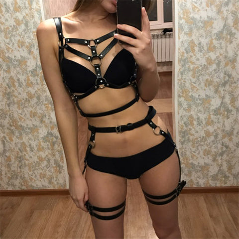 Leather Harness Underwear 2 Piece Set Garter Belts Sexy Women Waist To Leg Bondage Cage Straps Bra Garter Body Belts Lingerie