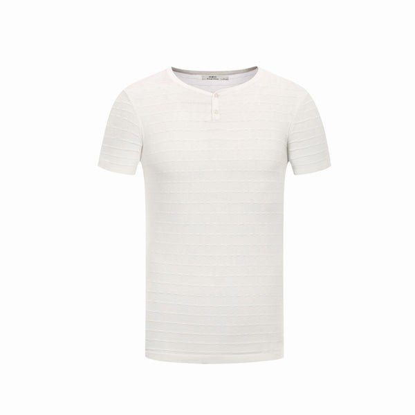Casual Slim O Collar Solid Black/White T-Shirt