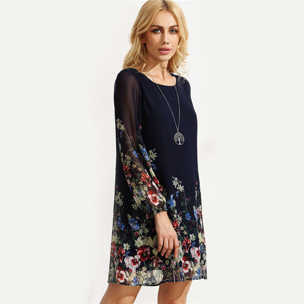 Multicolor Round Neck Long Sleeve Floral Print Dress