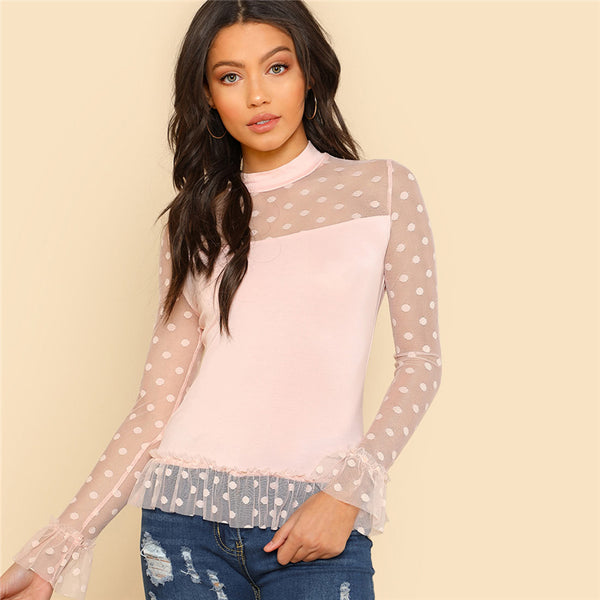 Pink Long Sleeve Stand Collar Polka Dot Contrast Mesh Shoulder and Ruffle Hem T-shirt