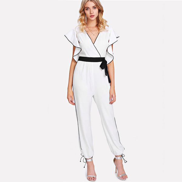 Butterfly Sleeve Deep V Neck Belted Jumpsuit