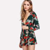 Deep V Neck Long Sleeve Floral Sexy Jumpsuit Mid Waist Ruffle
