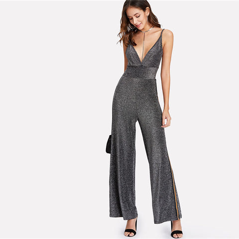 Silver Tape Side Glitter Jumpsuit