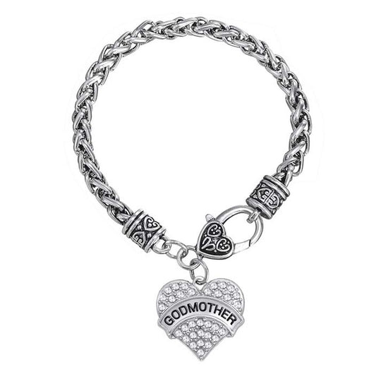 heart godmother pave charm h bracelet