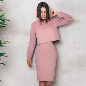 Cherry Blossom Hooded Two Piece Set