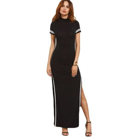 Long Black Wide Leg Dress