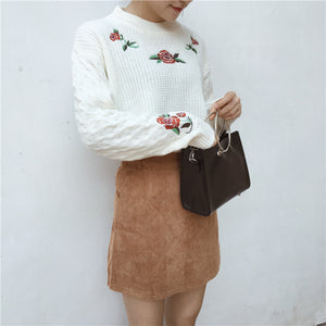 Roses Embroidered Pullover