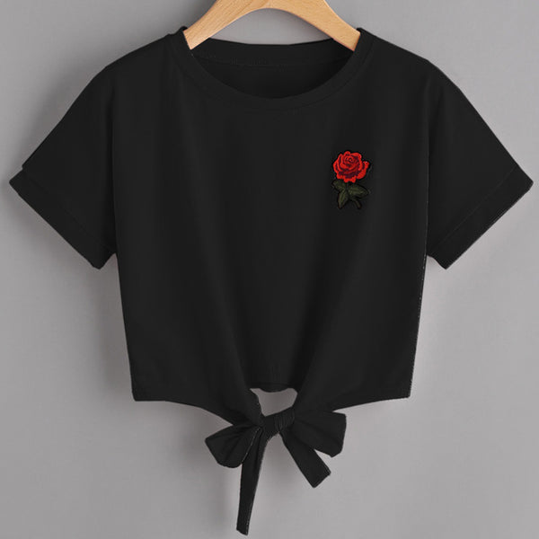 T-Shirt Crop Top Rose Harajuku