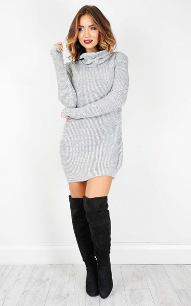 Fall Sweater Dress Over The Knee boots