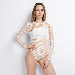 fishnet bodysuit white