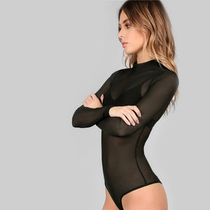 Sheer Mesh Long Sleeves Top