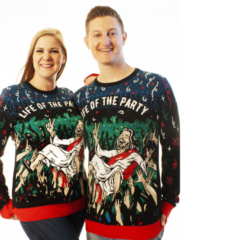 ugly christmas sweater jesus life of the party humor funny
