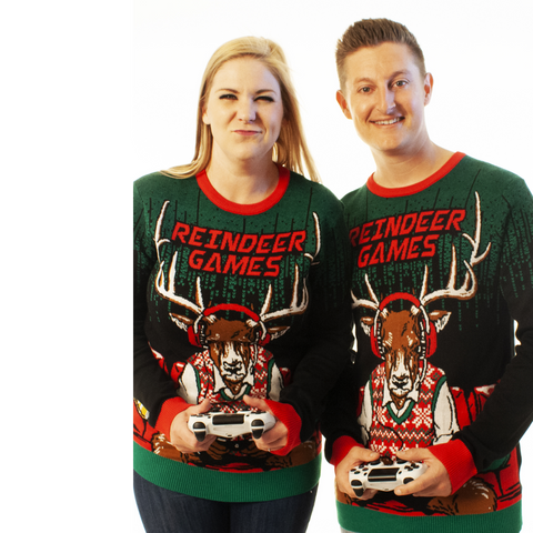 ugly christmas sweater reindeer games video game sweater