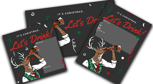 let's drink reindeer drinking christmas party invitation