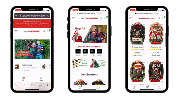ugly christmas party website mobile-first mobile-friendly redesign