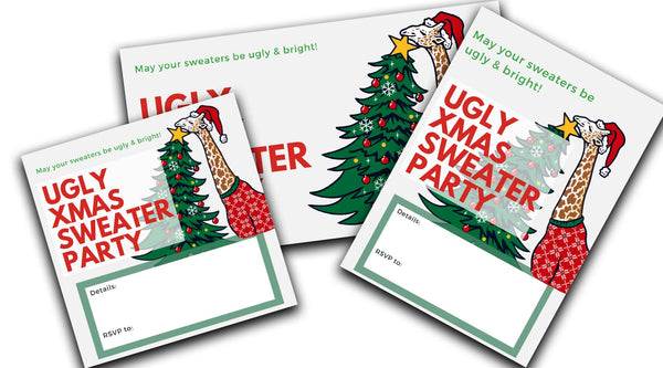 ugly christmas sweater party invitation giraffe hanging star digital downloads